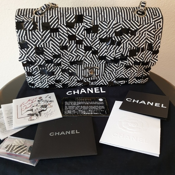 58f672e41aac CHANEL Bags | Canvas Sequin Stripe Medium Double Flap Bag | Poshmark